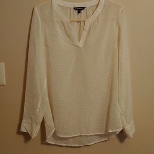 Express cream color sheer cuffed sleeves blouse M